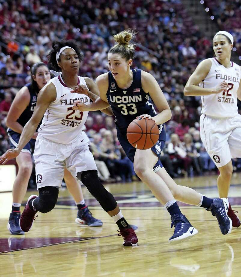 Connecticut's Katie Lou drives the basketball up court as Florida State's Ivey Slaughter defends in the second quarter of an NCAA college basketball game, Monday, Nov. 14, 2016, in Tallahassee, Fla. UConn won the game 78-76. (AP Photo/Steve Cannon) Photo: AP / FR127919 AP