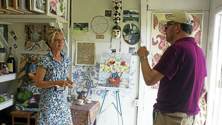 Contributed photoJoan Morosani discusses her process with studio visitor Jared Look. Photo: Journal Register Co.