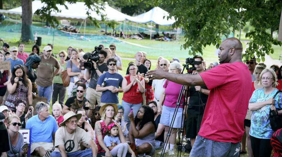 Jason Sole speaks at a Black Lives Matter rally in Loring Park in Minneapolis on July 9, 2016. Photo: Glen Stubbe/Star Tribune Via AP  / Star Tribune