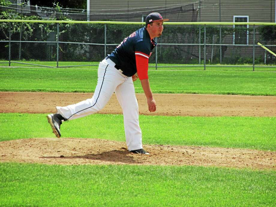 Litchfield pitcher Joey Serafin was at his best Wednesday night, holding Tri-Town to three hits while striking out 12. Photo: PETER WALLACE — REGISTER CITIZEN