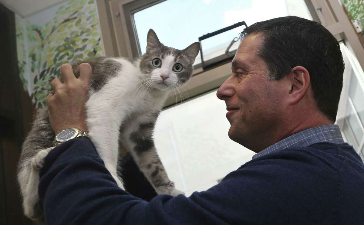 Dr. Gary Weitzman, president and CEO of the San Diego Humane Society and SPCA and author of the new National Geographic book ìHow to Speak Cat, has a word with Wesley, a resident of Humane Society shelter Wednesday, April 8, 2015, in San Diego. (AP Photo/Lenny Ignelzi)