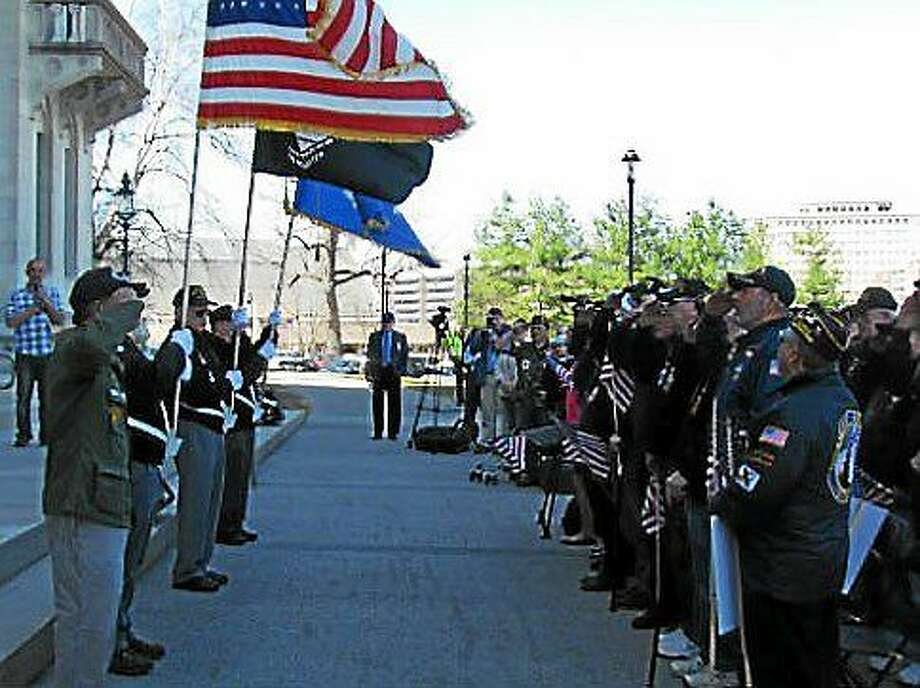 Veterans rally on the north steps of the state Capitol Photo: SARAH PADUANO PHOTO