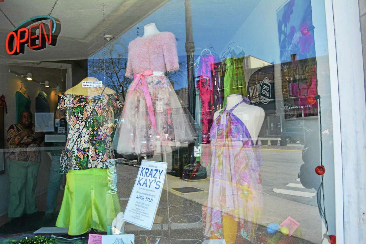 The front window of Joey's Fashions on Main St. features hand-made tulle skirts by a student at Torrington High School.