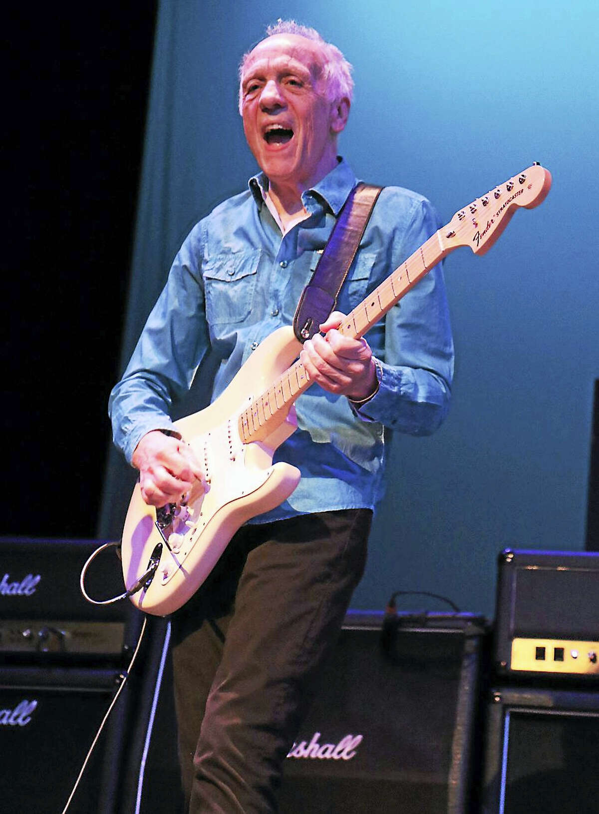 """Photo by John Atashian Guitarist and singer Robin Trower, who achieved success with Procol Harum during the 1960s, is shown performing on stage during his appearance at the Ridgfield Playhouse on Saturday night April 23rd. The English rock guitar legend attracted a capacity crowd of fans and treated them to his biggest hits plus songs from his new brand new album """"Where You Are Going To""""."""