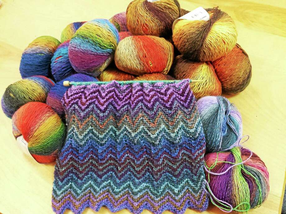 Photo by Ginger Balch A zickzack scarf, which is all the rage for knitters everywhere. Photo: Journal Register Co.