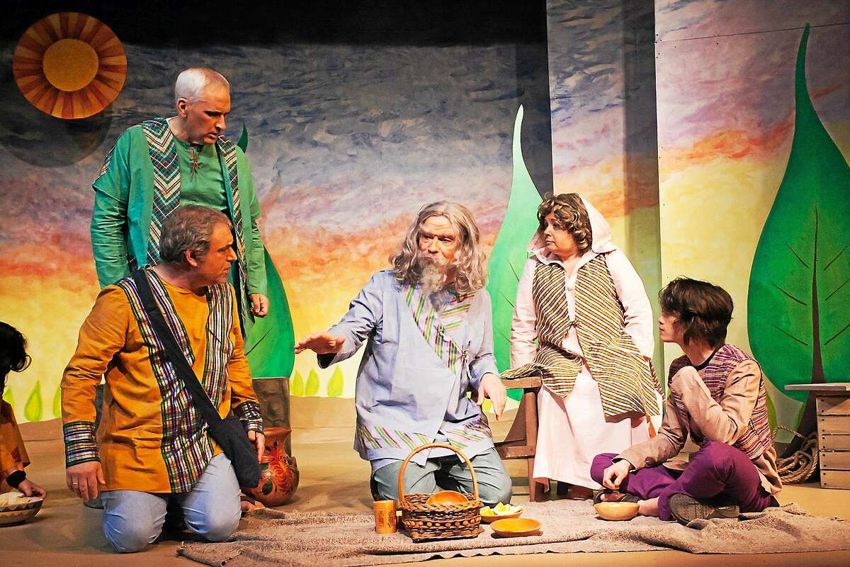 """Photos by Heather Boscarino From left, Robert Kwalick, Payton Turpin, Mike Zizka, Doreen Lopez, Kramer Kwalick in a scene from """"Two By Two"""" being staged by the Goshen Players."""