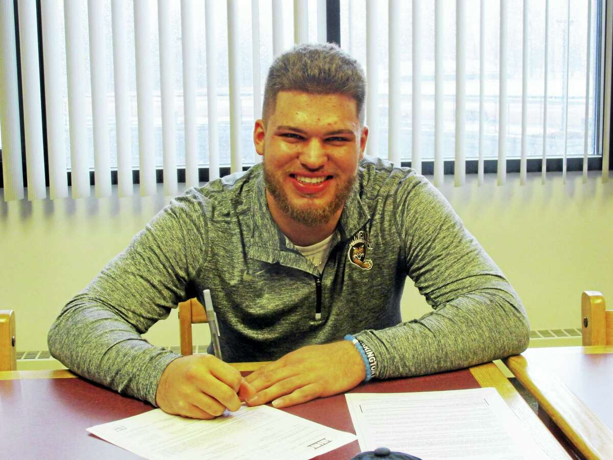 Photo by Peter Wallace Torrington's Dom Sabia signed a letter of intent to play baseball at Quinnipiac University Tuesday afternoon. Sabia, a a two-time All-State centerfielder/first baseman, batted .500 as a junior and .480 as a sophomore.