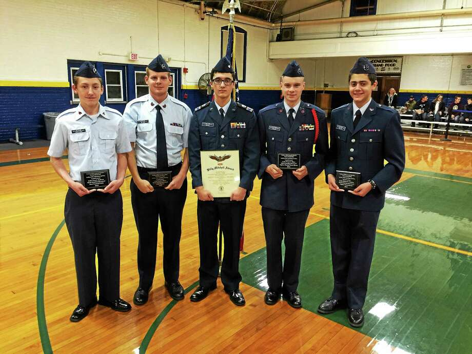Cadet members of the local Civil Air Patrol were recently recognized for their achievements during a ceremony held in the Torrington Armory. Photo: BEN LAMBERT — The Register Citizen