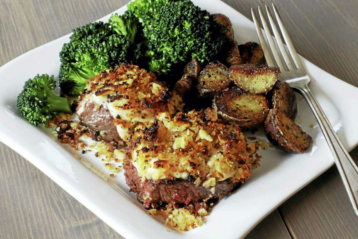 The delicious crust on these petite steaks is made from freshly grated horseradish, mayonnaise, mustard, breadcrumbs and crushed potato chips.