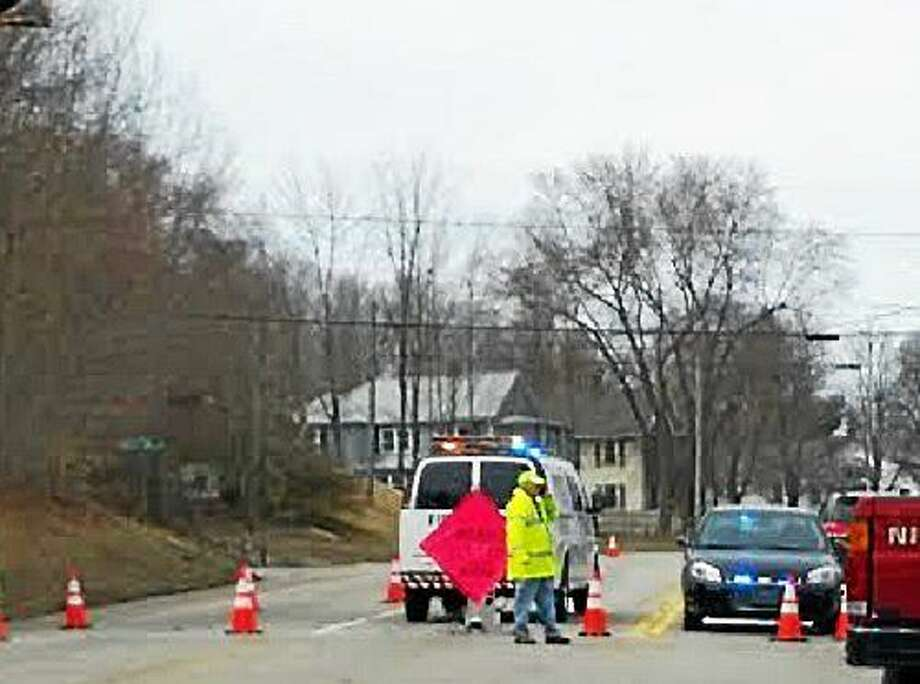 Route 4 in Torrington was closed for several hours Tuesday after a vehicle struck a utility pole. Photo: Amanda Webster — The Register Citizen