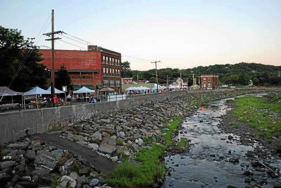 The trickle that is now the Naugatuck River as it runs through Torrington in the area of Franklin Street. Photo: Ben Lambert — The Register Citizen