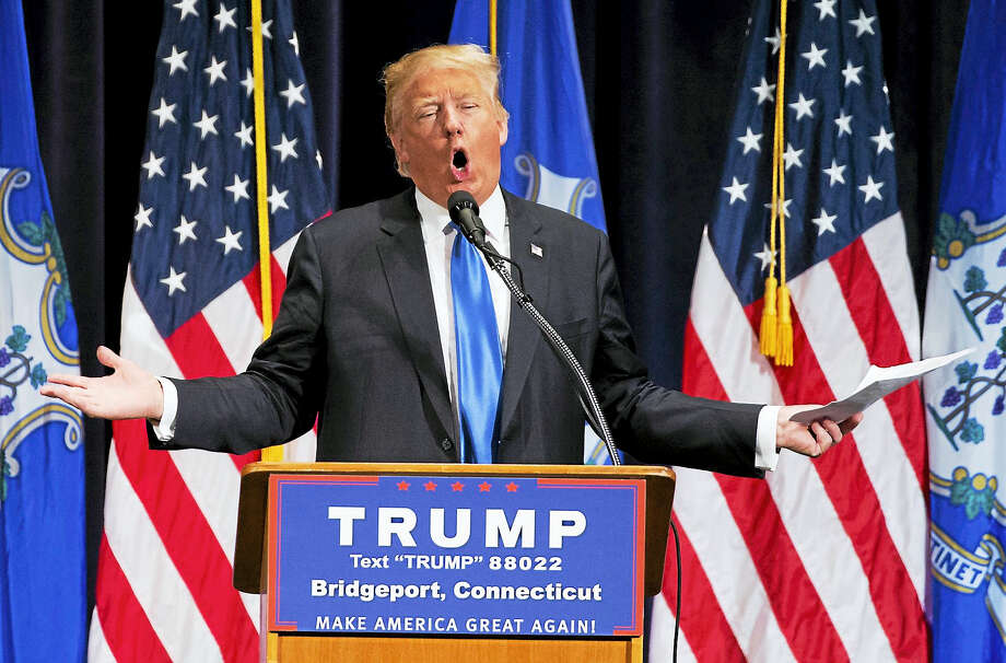 Republican presidential candidate Donald Trump speaks during a campaign rally in Bridgeport, Conn. on April 23, 2016. Photo: AP Photo/Michael Dwyer  / AP