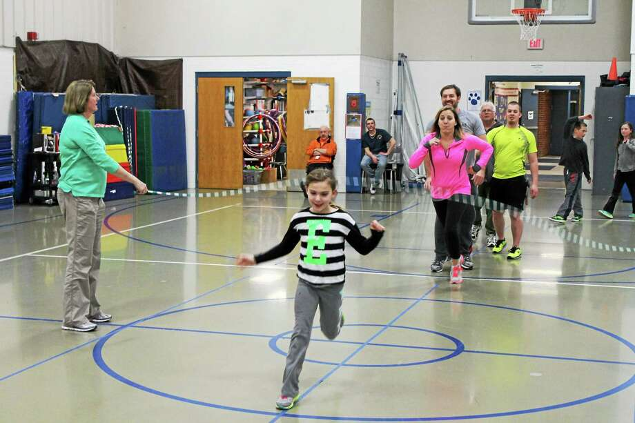 Students and parents at Harwinton Consolidated School participated in jump ropes as part of the P.E. Fun Night on Tuesday evening. Photo: Photo By John Nestor