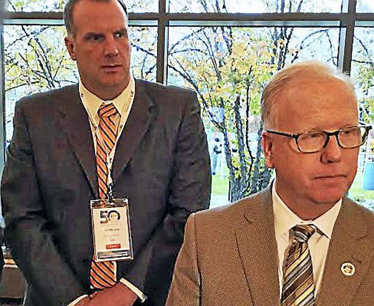 Danbury Mayor Mark Boughton and CCM Executive Director Joe DeLong.