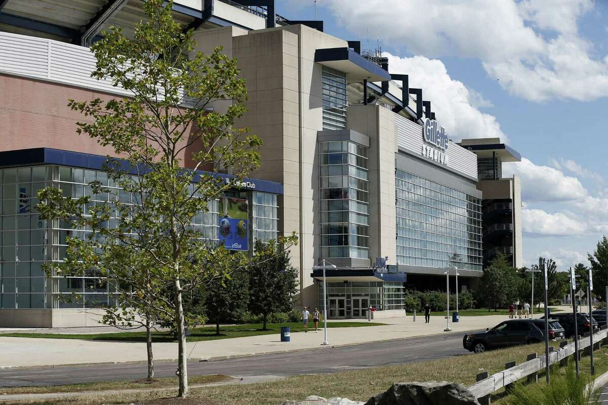 Gillette Stadium is seen before Thursday's preseason game between the New England Patriots and Green Bay Packers in Foxborough, Mass.