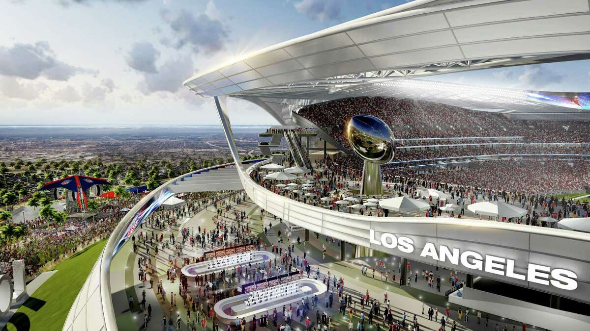 This architectural rendering provided by MANICA Architecture shows the Peristyle Club and Patio section of the proposed $1.7-billion NFL stadium the San Diego Chargers and Oakland Raiders football teams want to build in Carson, Calif.