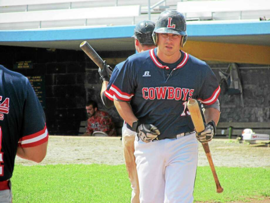 Chris Blazek's solo homer for the Litchfield Cowboys in the first inning pointed toward a hitters' day Sunday at Fuessenich Park. Photo: PETER WALLACE — REGISTER CITIZEN