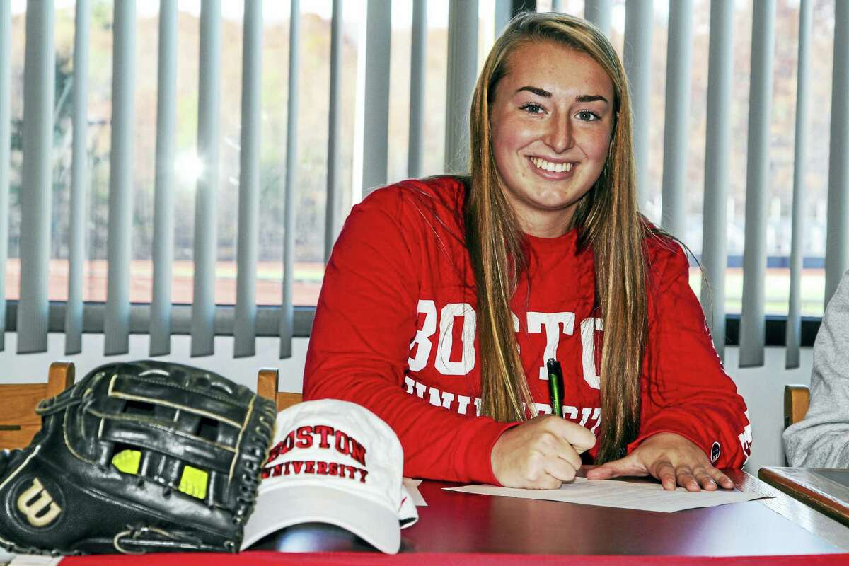 Torrington pitcher Ali DuBois signed her letter of intent for Boston University Monday afternoon. DuBois had a 0.861 ERA in 155 innings for the Red Raiders last year, striking out 269 batters with a .455 average at bat.