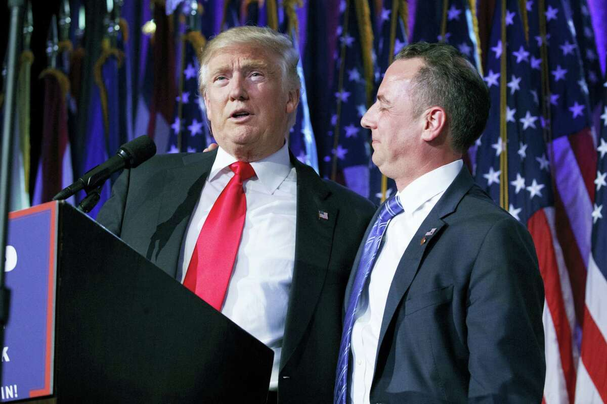 In this Nov. 9, 2016 photo, President-elect Donald Trump, left, stands with Republican National Committee Chairman Reince Priebus during an election night rally in New York. Trump on Sunday named Priebus as his White House chief of staff.