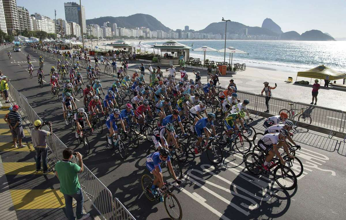 Athletes compete during the International Road Cycling Challenge test event, ahead of the Rio 2016 Olympic Games at Copacabana Beach, Rio de Janeiro, Brazil, on Sunday.