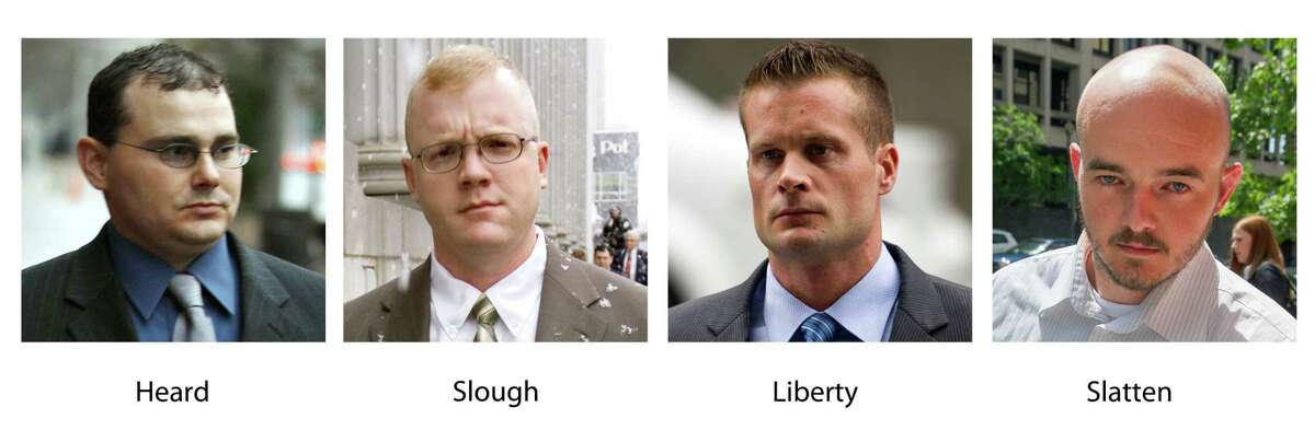 In these various photos, Blackwater guards, from left, Dustin Heard, Paul Slough, Evan Liberty and Nicholas Slatten. A years-long legal fight over a deadly mass shooting of civilians in an Iraq war zone reaches its reckoning point, when four former Blackwater security guards are sentenced for the rampage. Three of the guards, Dustin Heard, Evan Liberty and Paul Slough, face mandatory decades-long sentences because of firearms convictions. A fourth, Nicholas Slatten, faces a penalty of life in prison after being found guilty of first-degree murder.