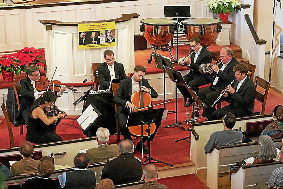 Contributed photoFrom left are Vincent Lionti, viola; Song-A Cho, violin; Terence Flanagan, keyboard; Serafim Smigelsky, cello; Andrew Garcia, horn; Douglas Myers, horn; Nathan Mills, oboe, who will perform in the WFM New Years' Day concert in Washington.