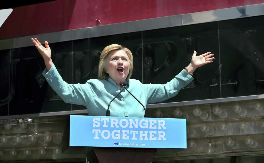 Democratic presidential candidate Hillary Clinton speaks on the Boardwalk  in Atlantic City, N.J. Photo: AP Photo — Mel Evans / Copyright 2016 The Associated Press. All rights reserved. This material may not be published, broadcast, rewritten or redistribu