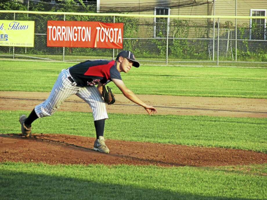 Torrington Sports Palace pitcher D.J. Reynolds threw six strong innings before Waterbury caught up with him in the seventh at Fuessenich Park Wednesday night. Photo: Photo By Peter Wallace
