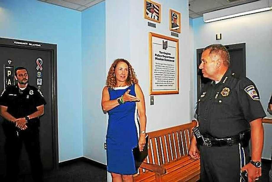 U.S. Rep. Elizabeth Esty visited the Torrington Police Department Thursday. Photo: Amanda Webster — The Register Citizen