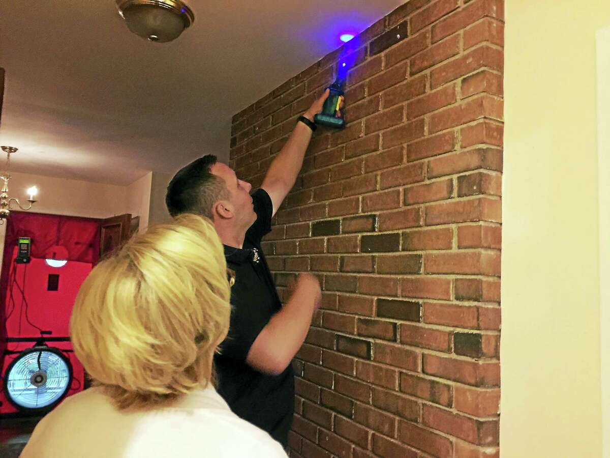 Ben Lambert - The Register CitizenAn energy audit was conducted at the home of Mayor Elinor Carbone Wednesday morning in Torrington.