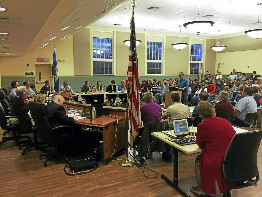 Members of the public came forward to speak about the proposed budget for the Torrington public schools Thursday, as it was received by the Board of Finance. Photo: BEN LAMBERT — The Register Citizen