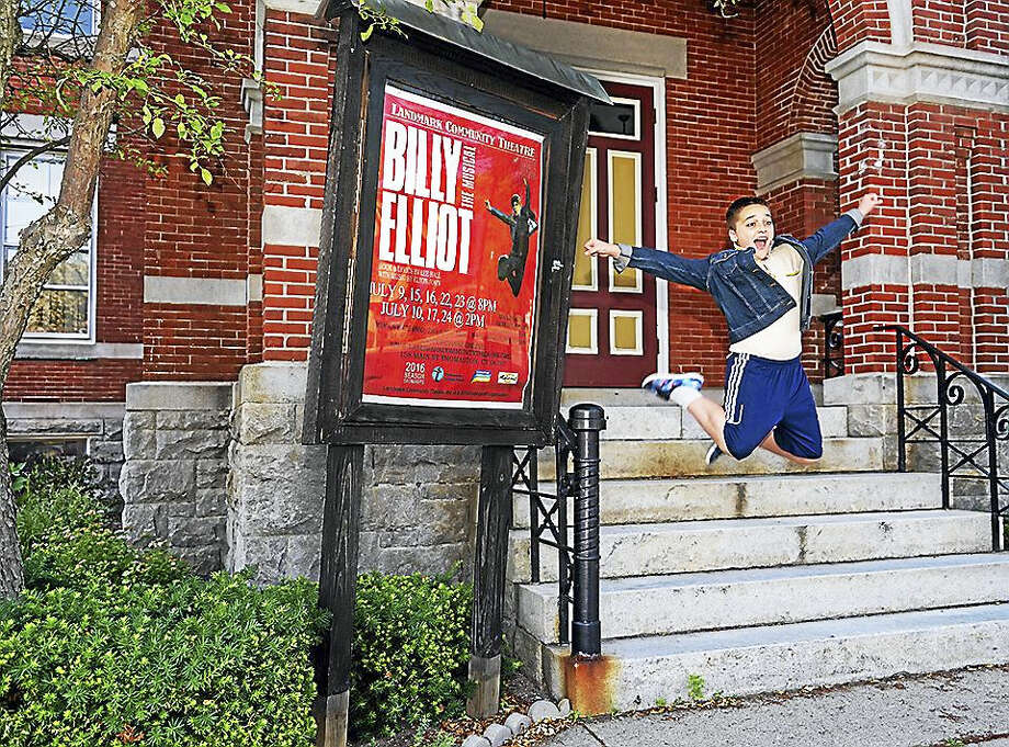 "Contributed photoAn enthusiastic Charlie Pelletier leaps from the steps of the Thomaston Opera House, where he and other cast members are presenting ""Billy Elliot."" Photo: Journal Register Co."