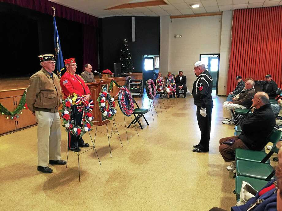 BEN LAMBERT — THE REGISTER CITIZEN Torrington held a ceremony Monday afternoon marking the 74th anniversary of the attack on Pearl Harbor. Photo: Journal Register Co.