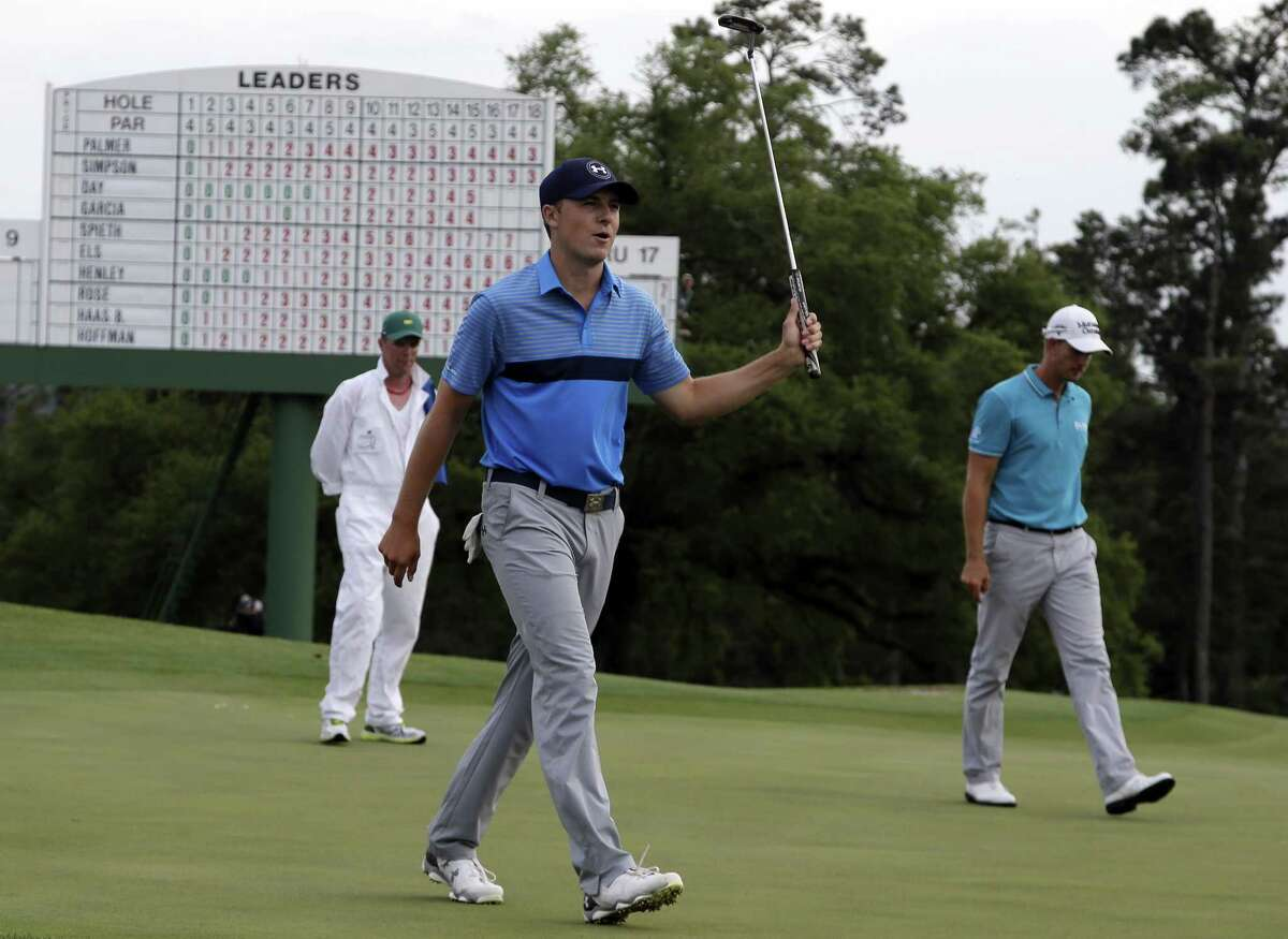 Jordan Spieth reacts after his birdie on the 18th hole during the first round of the Masters on Thursday.