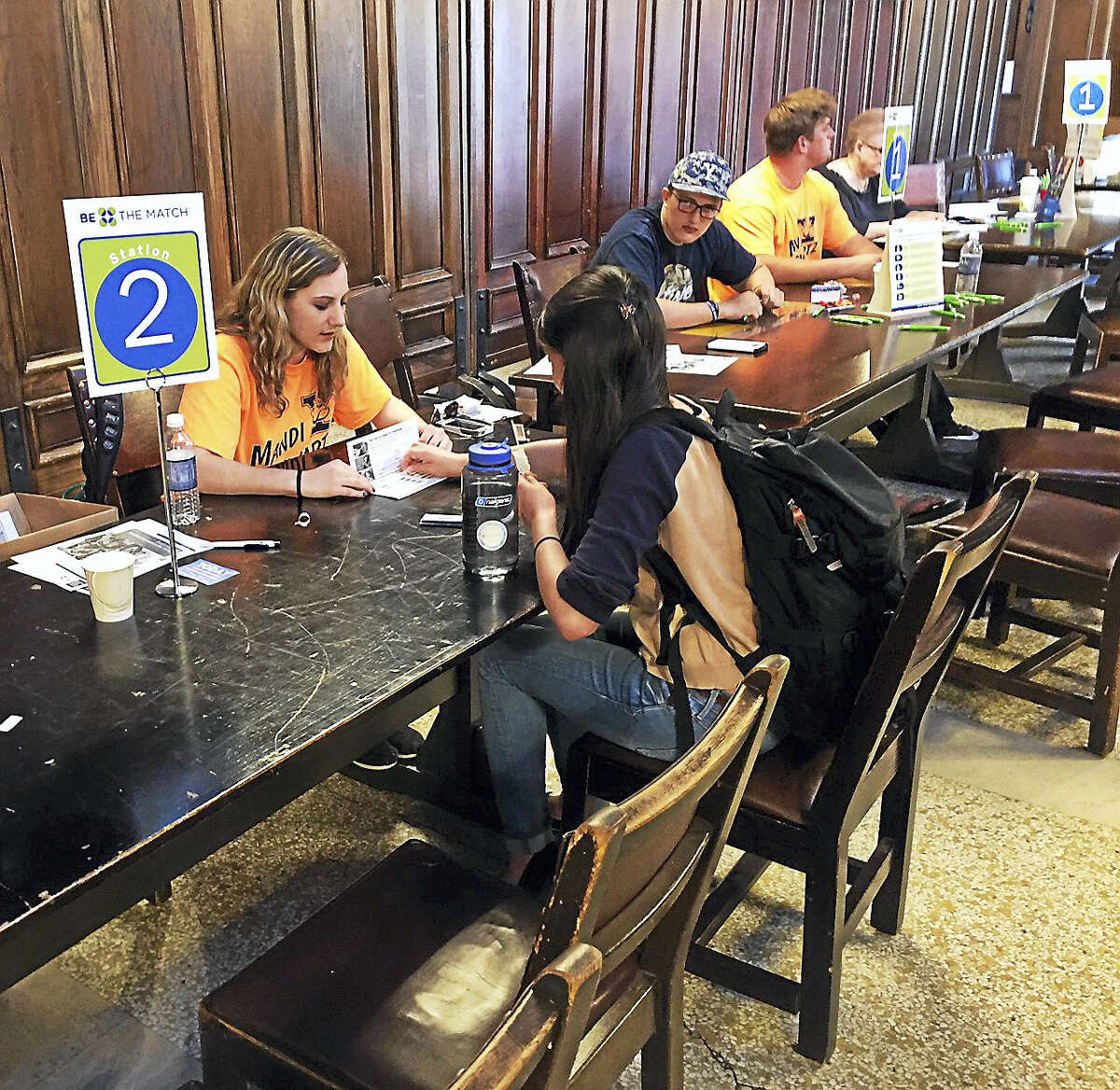 Volunteers sign up at the annual Mandi Schwartz Marrow Donor Registration Drive at Yale.