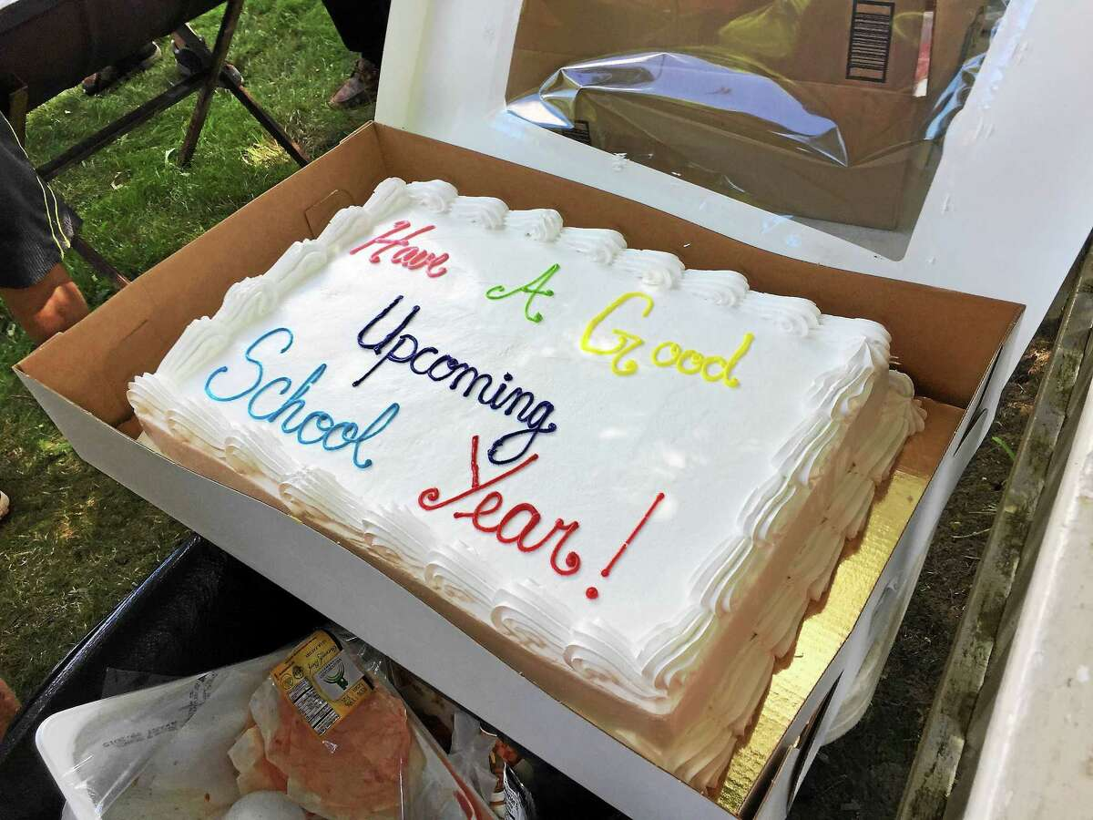 The cake in question, served at the 2015 end-of-summer cookout put on by Tuttle-Burns American Legion Post 43 in Winsted.