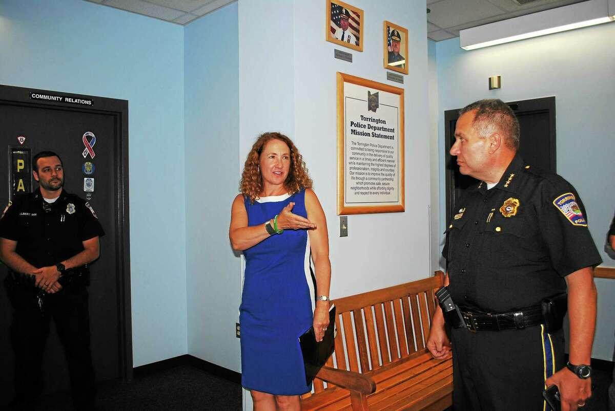 Congresswoman Elizabeth Esty visited the Torrington Police Department on Thursday.