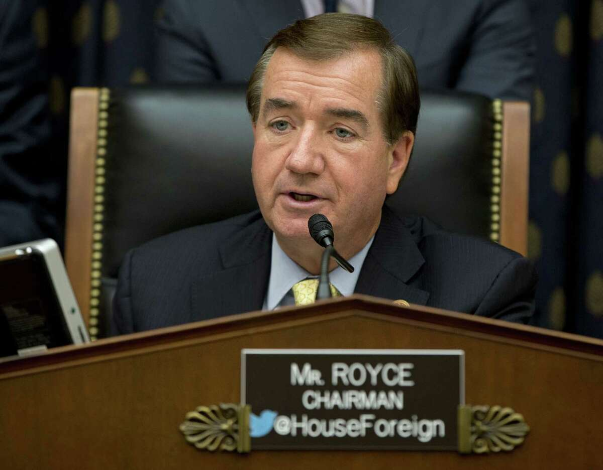 """FILE - In this Sept. 18, 2014 file photo, House Foreign Affairs Committee Chairman Ed Royce, R-Calif. speaks on Capitol Hill in Washington. A bill now making its way through the U.S. Congress, and being watched closely in Pyongyang, is designed to shut off North Korea, and anyone who deals with it, from the U.S. dollar, the worldís most important currency. Royce said after the act was introduced in February and updated after the massive cyberattack on Sony Entertainment, would """"step up the targeting of those financial institutions in Asia and beyond that are supporting this brutal and dangerous regime."""""""