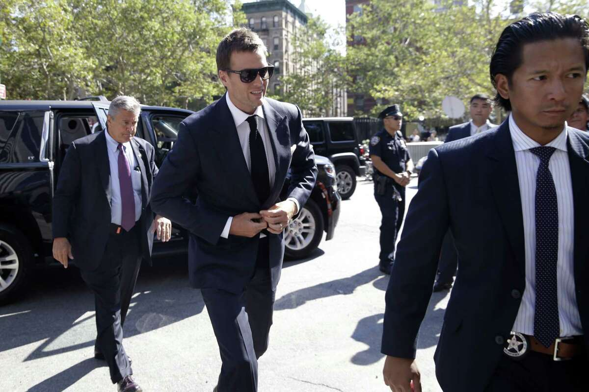 New England Patriots quarterback Tom Brady arrives at federal court Wednesday in New York.