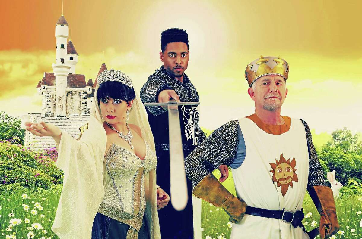 """From left, Mariand Torres (Lady of the Lake), Bryce Wood (Lancelot) and Richard Kline (King Arthur) in Monty Python's """"Spamalot."""""""