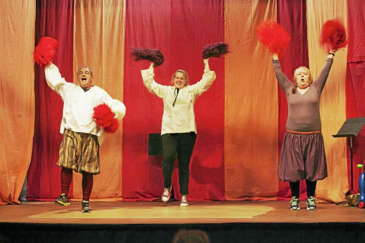 "Photos by Scott Stanchfield (C) 2016 Goshen PlayersRobert Kwalick, Devon Richtmeyer and Kate Costello celebratein a scene from the Goshen Players new show, ""The Complete Works of William Shakespeare (Abridged)."""
