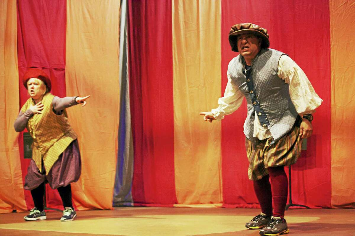 """Photos by Scott Stanchfield (C) 2016 Goshen PlayersKate Costello accuses Robert Kwalick in a scene from """"""""The Complete Works of William Shakespeare (Abridged)"""" being performed by the Goshen Players."""
