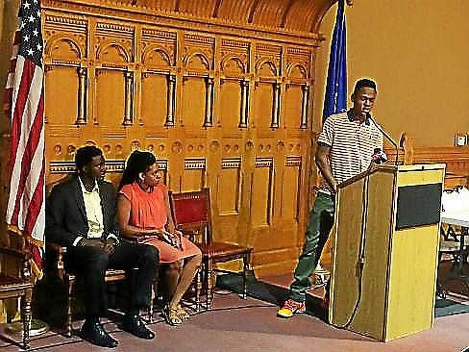 Ibrahmin Adegona, a student from Bridgeport, talks about his experiences. Photo: Photo By Madeline Stocker/courtesy CTNJ