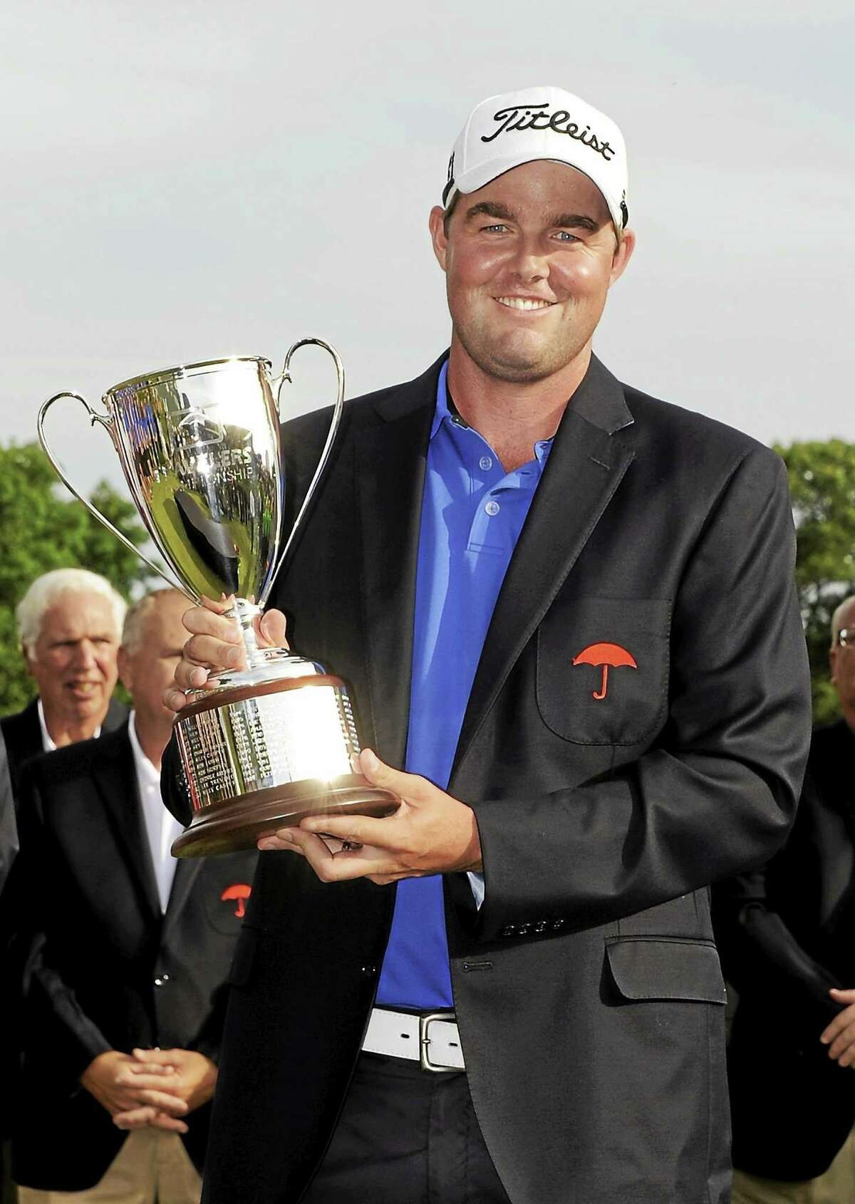 Marc Leishman celebrates after winning the Travelers Championship on June 24, 2012.