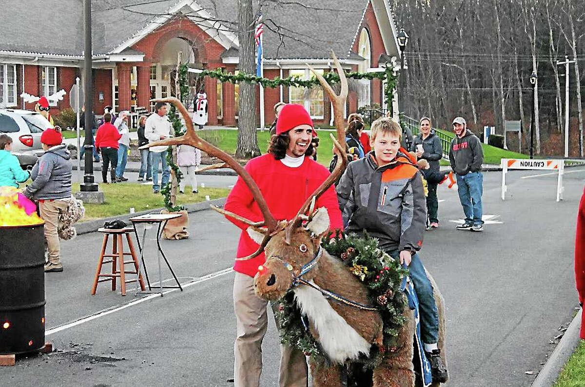 Rudolph the Red-Nosed Reindeer was part of the fun at the Harwinton Hometown Holiday Celebration.