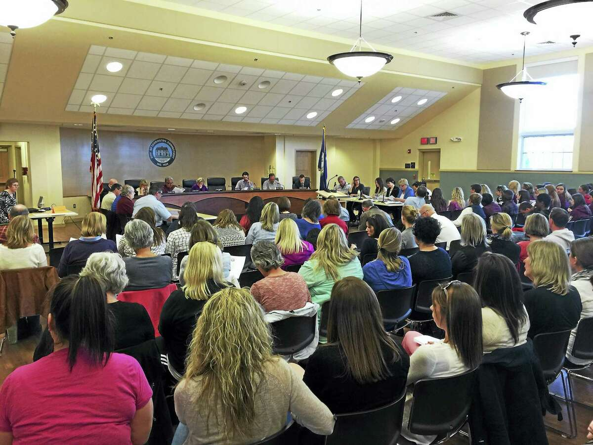 Members of the public came forward to speak about the proposed budget for the Torrington public schools Thursday, as it was received by the Board of Finance.