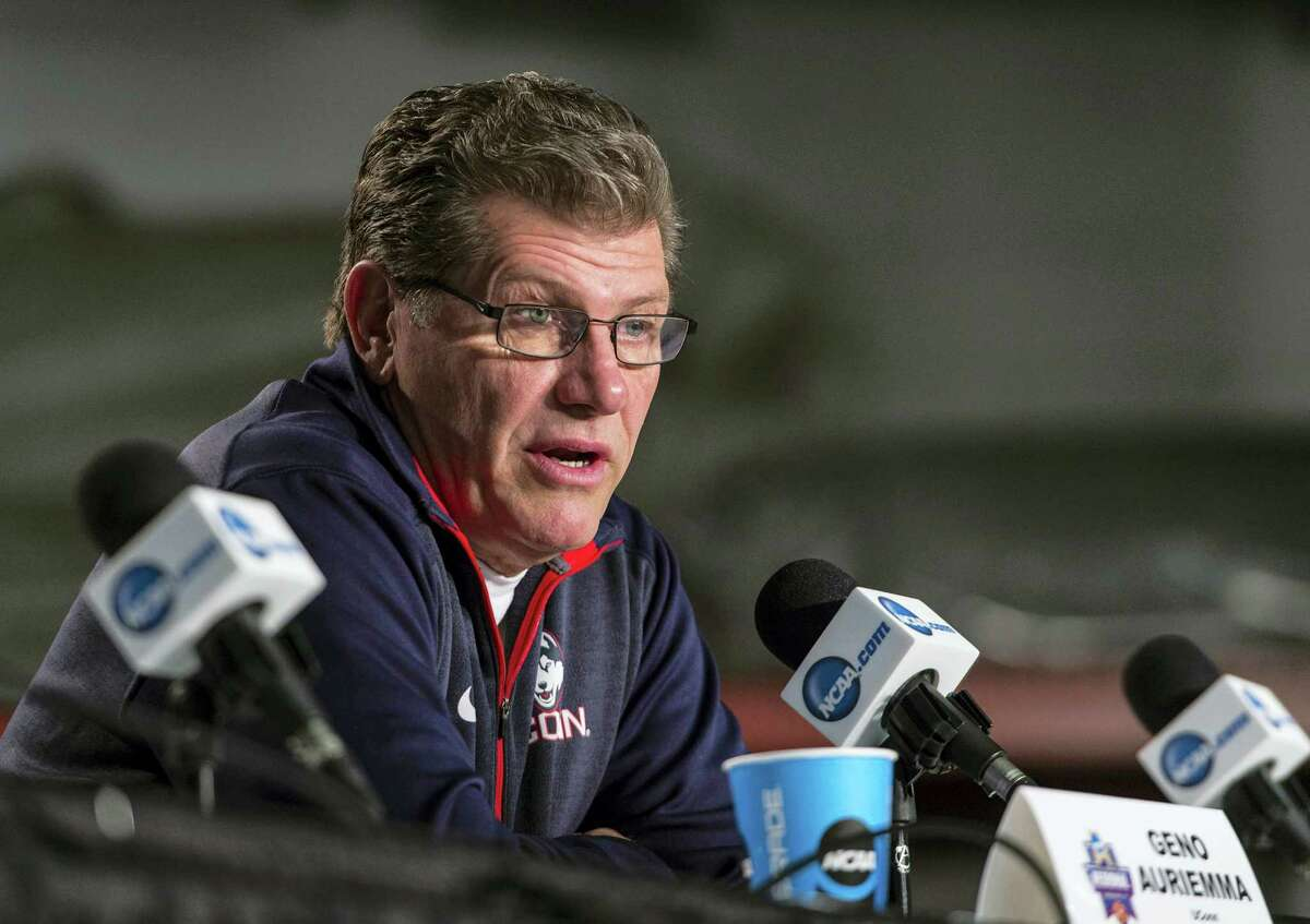 UConn coach Geno Auriemma speaks at a press conference during the NCAA tournament.