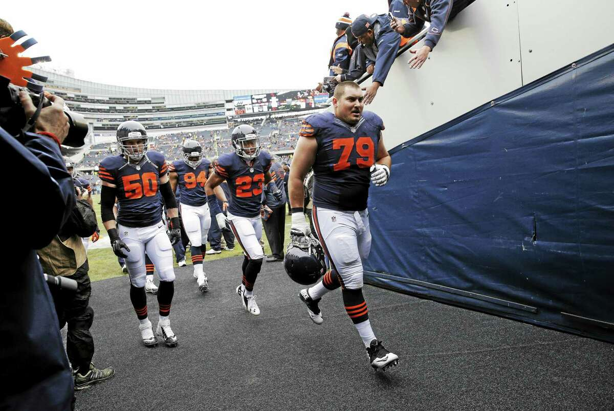 Bears guard Ryan Groy (79) leads his team back to the locker room before a game against the Tampa Bay Buccaneers last November in Chicago.