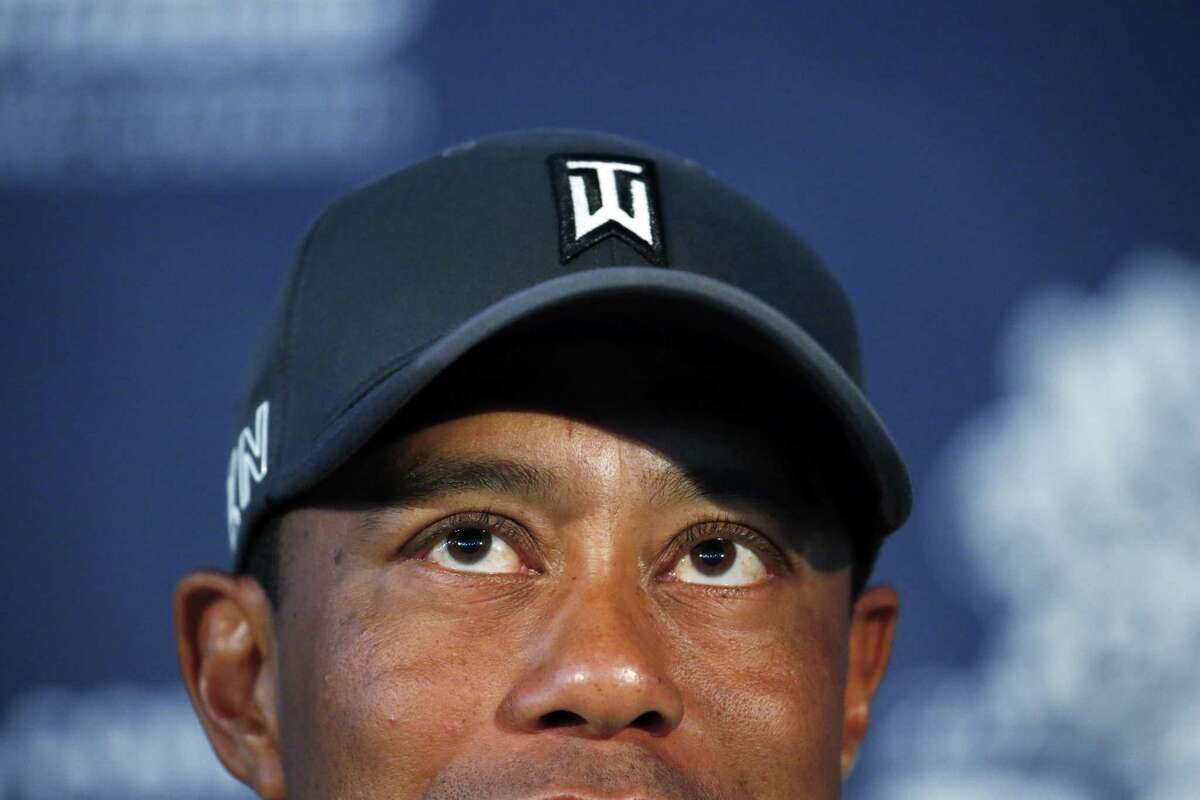 Tiger Woods talks in the media room after a practice round for the PGA Championship on Tuesday at Whistling Straits in Sheboygan, Wis.