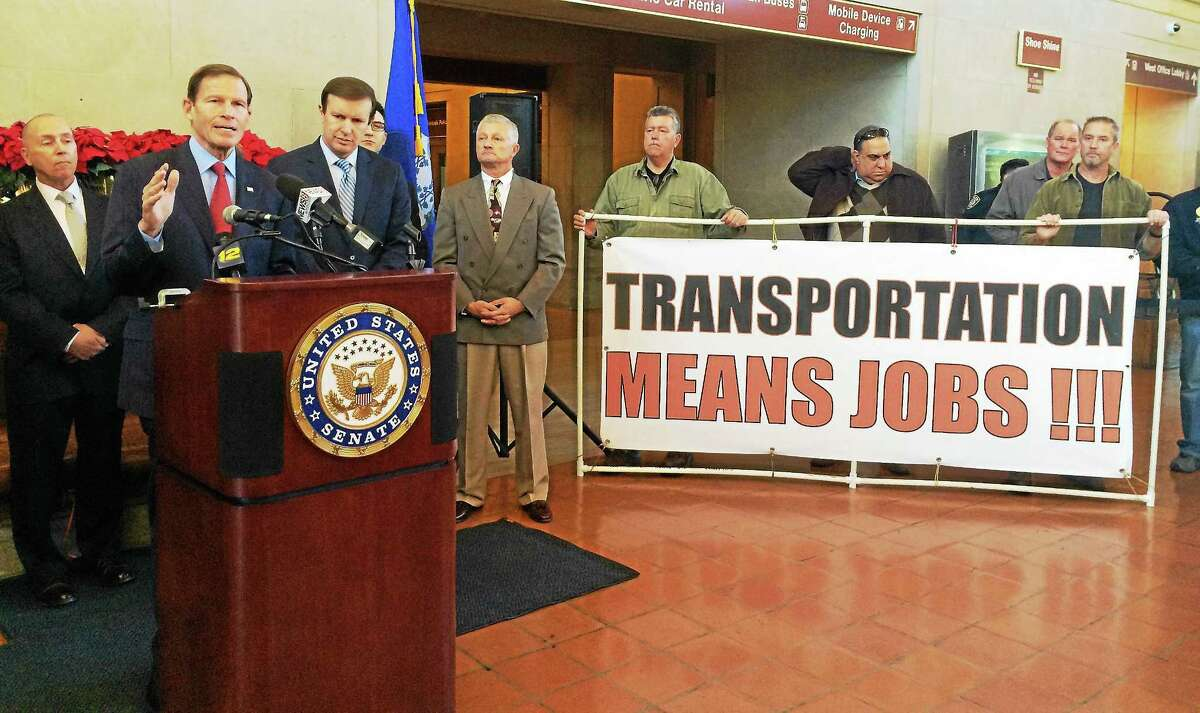 U.S. Sen. Richard Blumenthal, D-Conn., speaks at New Haven's Union Station on Friday. Blumenthal, along with U.S. Sen. Chris Murphy and members of Connecticut's construction industry hailed congress passing a federal transportation funding bill Thursday.